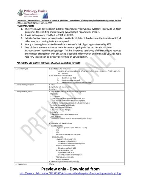 pap smear report sle atlas on bethesda system for reporting cervical cytology