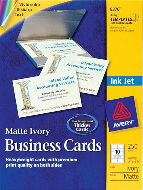 avery 174 8376 ivory matte business cards inkjet 250 ebay
