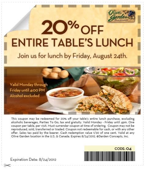 printable olive garden lunch coupons olive garden 20 off entire table s lunch printable