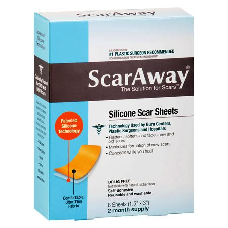 scaraway c section scaraway silicone scar treatment sheets 1 5 x 3 inch