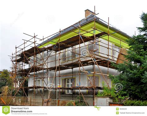House Plans And Prices To Build Scaffolding On The House Stock Photo Image Of Blue