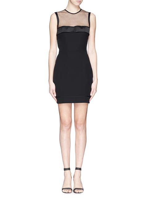 Polkadot Mesh Dress Et Cetera beckham polka dot mesh panel crepe dress in black