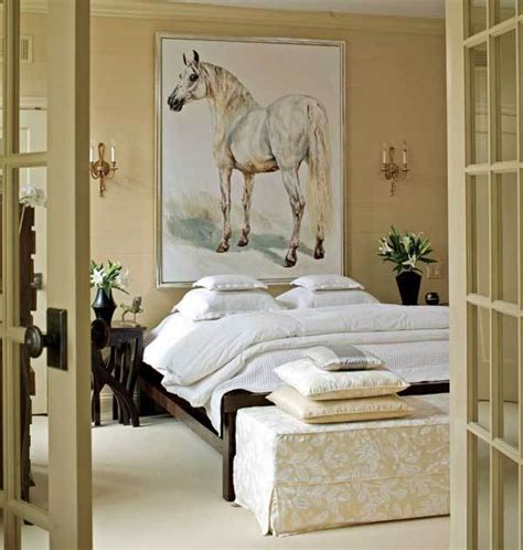 horse bedrooms bedroom with french doors horse painting art neutral colors natural decor ideas home decorating
