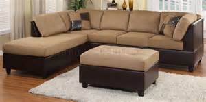 light brown microfiber modern sectional sofa w ottoman