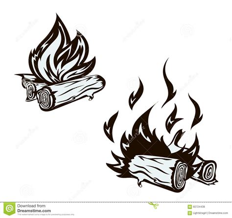 vector poster with hand drawn bonfire set flame stock