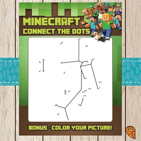 free printable dot to dot minecraft printable minecraft connect the dots game by