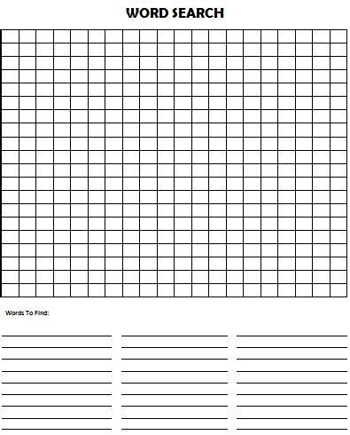 Templates For Word Search Puzzles | word search puzzle blank printables only free