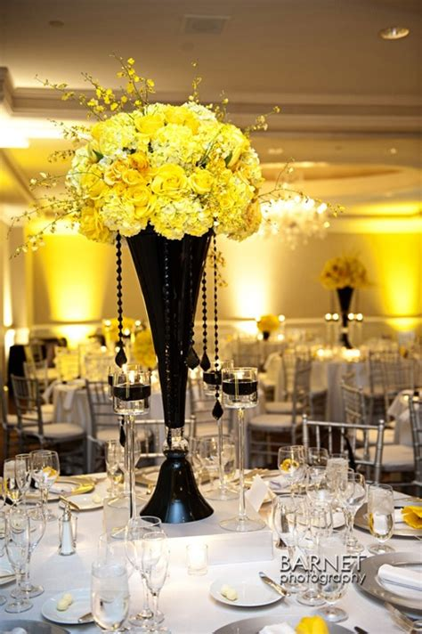 Black Vase Centerpiece Wedding by Black And Yellow Centerpiece Weddingsabeautiful