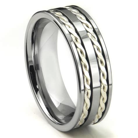 Tungsten Ring Wedding by Tungsten Carbide Silver Rope Wedding Band Ring