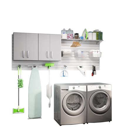 Laundry Room Wall Storage Flow Wall Modular Laundry Room Storage Set With Accessories In Platinum Carbon Fiber 2