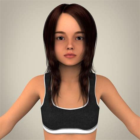 3d tiny girl realistic girl 3d model max obj 3ds fbx c4d lwo lw