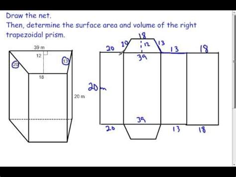 trapezoidal prisms volume and surface area (7.2) youtube
