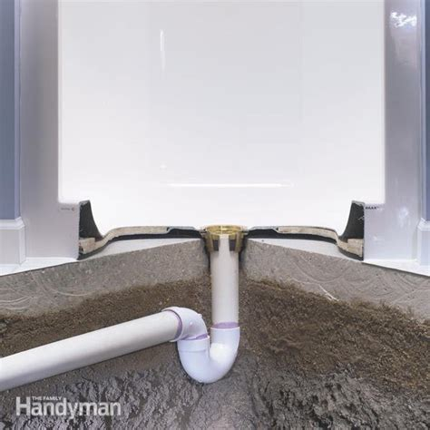 Installing A Shower Drain In A Basement Floor by How To Install A Fiberglass Base Concrete The