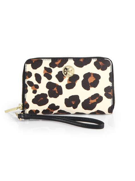lyst tory burch robinson leopardprint smartphone wristlet