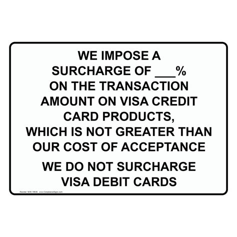 Credit Card Surcharge Letter Surcharge On Credit Cards Sign Nhe 18636 Dining Hospitality Retail