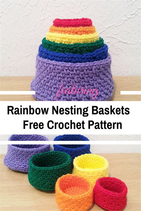 free crochet pattern websites crochet rainbow nesting baskets are lovely and fun free