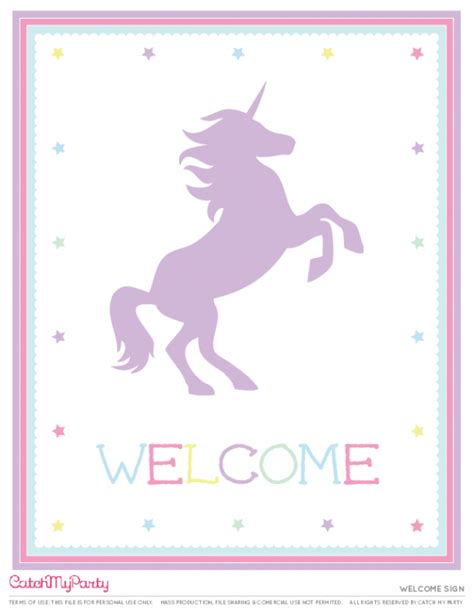 unicorn printable free free unicorn party printables welcome sign catchmyparty