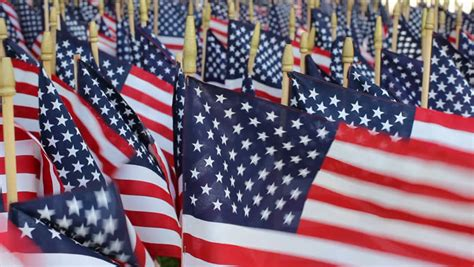 American Flag Decorations by American Flag Decoration In National Cemetery Stock Footage 2999878