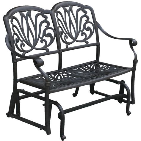 wrought iron patio glider bench darlee elisabeth cast aluminum patio bench glider