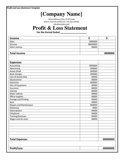 profit and loss statement template google docs beautiful printable