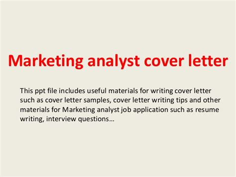 Cover Letter Marketing Analyst by Marketing Analyst Cover Letter