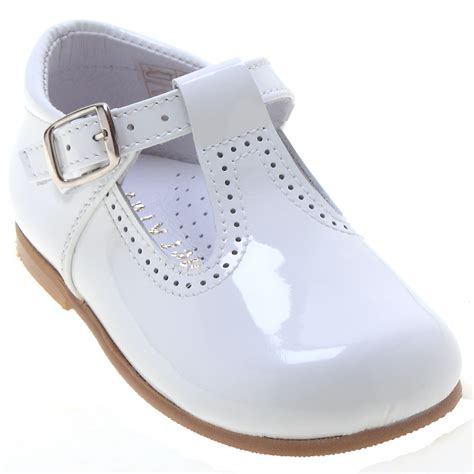 toddlers baby white patent t bar shoes cachet