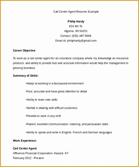 6 call center resume exles free sles exles