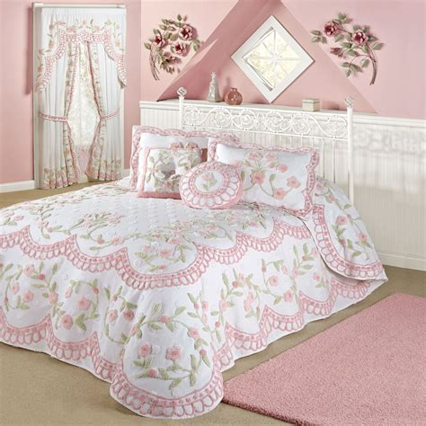 floral bedspreads and comforters cottage charm floral chenille oversized bedspread