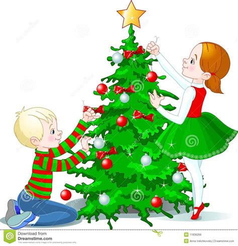 children decorate a christmas tree stock vector image