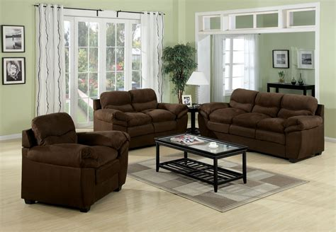 room set acme standford easy rider microfiber living room set in chocolate