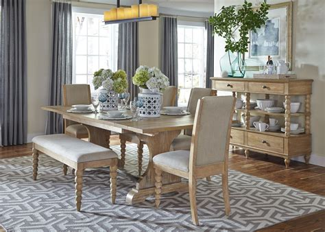 trestle table and bench harbor view trestle table and 4 upholstered side chairs and dining bench set by