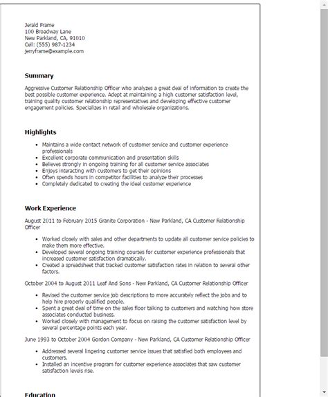 customer relationship officer resume template best