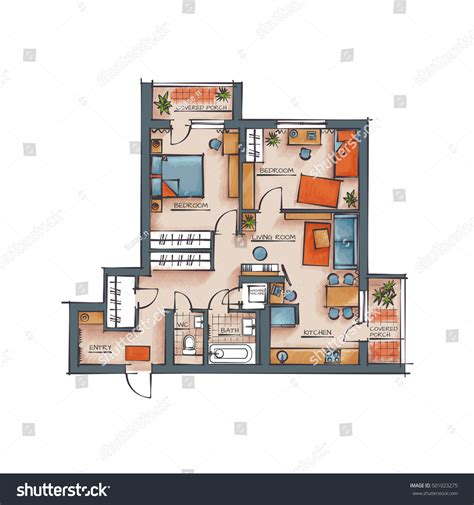 architectural color floor plan furniture top stock vector architectural color floor plan two bedrooms stock vector
