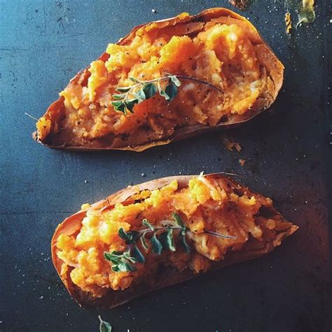 foodista ina garten s make it ahead french green bean with warm twice baked sweet potatoes from ina garten s quot make it
