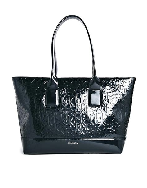 Tas Ck Tote Top Handle Original calvin klein calvin klein ck patent embossed tote bag