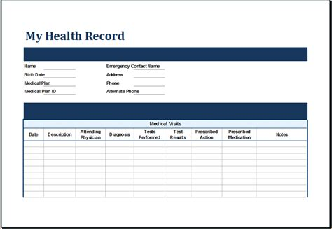 my personal health records journal books 4 health record template procedure template sle