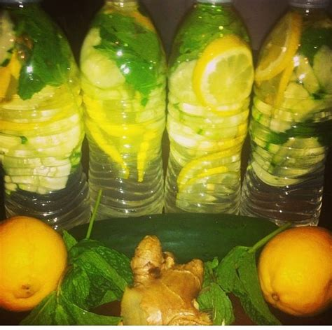 lemon water before bed cucumber lemon ginger and mint water add all