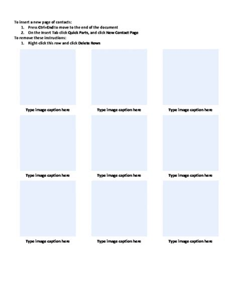 photo contact with captions sheet template word templates