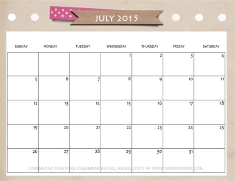 printable weekly calendar july 2015 8 best images of cute free printable july 2015 calendar