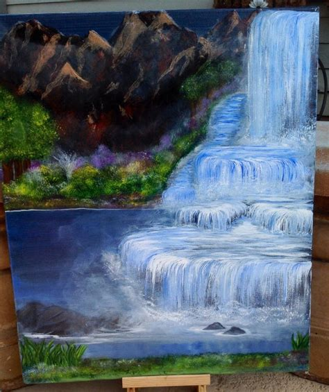 acrylic painting waterfalls original 16 x 20 acrylic painting on canvas quot waterfalls i