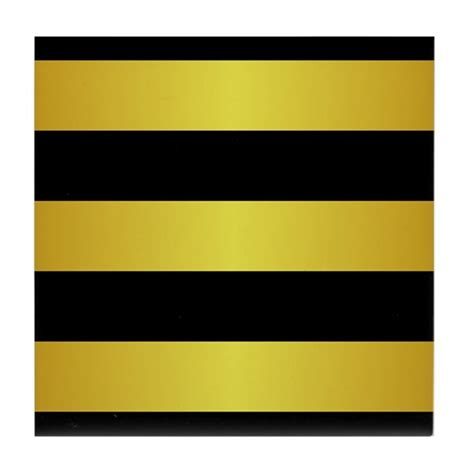 BLACK AND GOLD Horizontal Stripes Tile Coaster by BeautifulBed