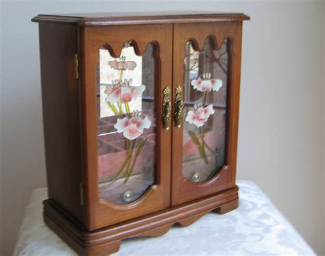 glass jewelry armoire vintage mele jewelry box armoire wood glass gorgeous