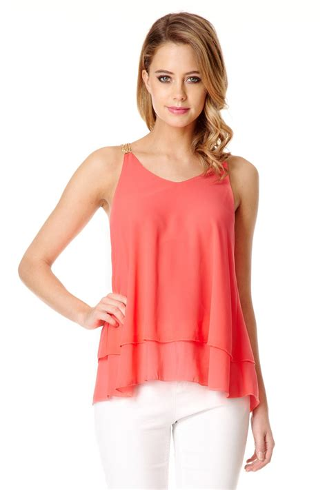 Metaphor Coral Layer Dress quiz coral chiffon layer cami top in pink coral lyst
