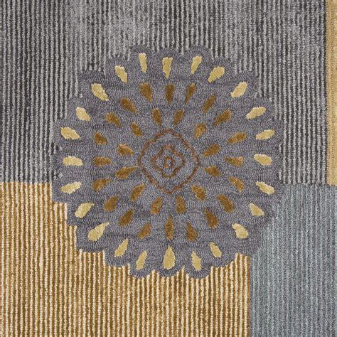 harbor mums pattern wool runner rug in blue brown 2 6 quot x 8