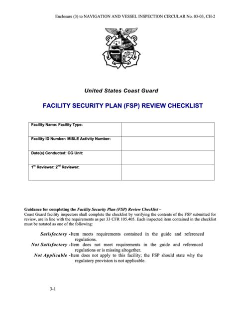facility security plan template facility security plan fsp review checklist template