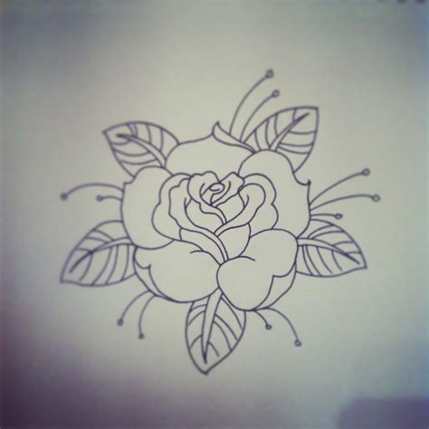 tattoo rose old school traditional traditional linework
