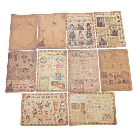 vintage paper craft 10 sheet vintage paper stickers diy scrapbooking photo