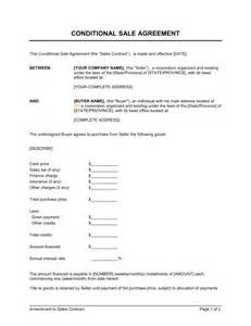conditional sale agreement template amp sample form