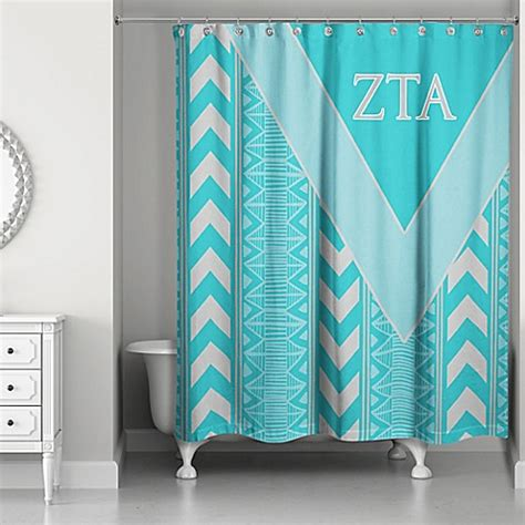 teal curtains bed bath and beyond zeta tau alpha shower curtain in teal grey bed bath beyond