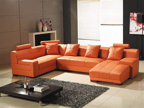 canape d angle orange deco in canape d angle capitonne cuir orange